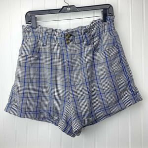 American Eagle Hi-Rise Paperbag Plaid Shorts